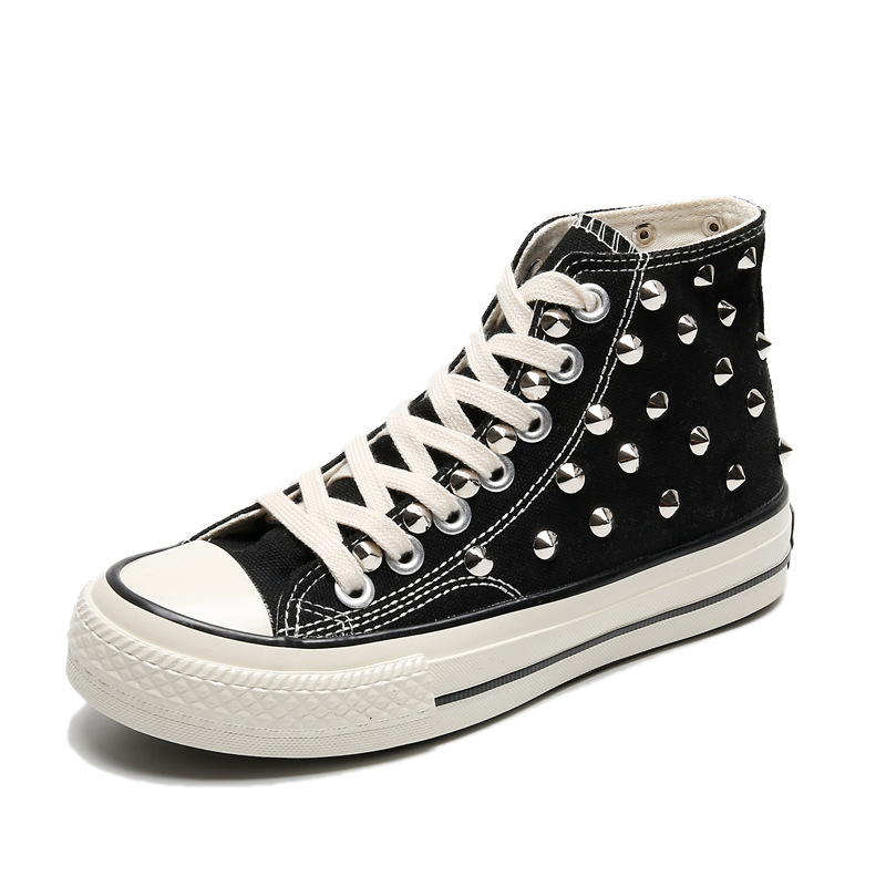 High Quality Women Rivet High Top Canvas Shoes Men Women Classic Black Sneakers