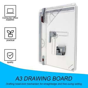 Drawing-Board Rulers Parallel Draft A3 with Corner-Clips Head-Lock Adjustable Angle-Art