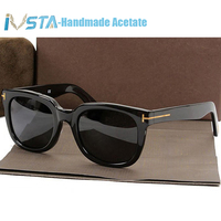 IVSTA Tom TF 211 Sunglasses with logo Real Handmade Acetate Frame Steampunk Women Men Luxury Brand Designer Oversized Big Mirror