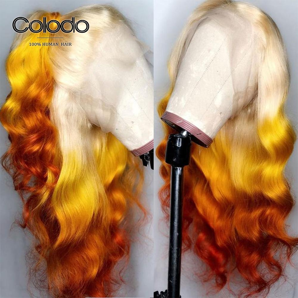 COLODO Ombre Orange Lace Front Human Hair Wigs Preplucked Remy Brazilian Pink Blue Body Wave Wig Transparent Lace Wigs For Women