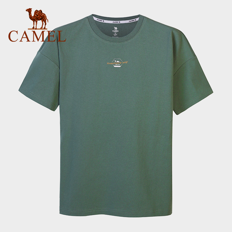 CAMEL Men Women Outdoor Cotton T-shirt Short Sleeve Casual Summer Soft Breathable Hiking Sports Shirt Printing Loose Tops