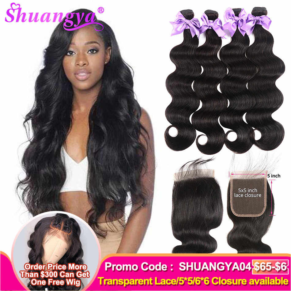 Brazilian Body Wave With Closure 5x5 Transparent Lace Closure Human Hair Bundles With Closure Remy 3/4 Bundles With Closure