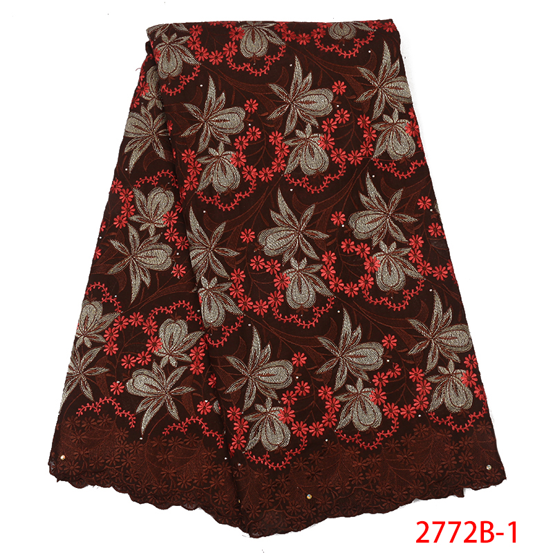 New Design Swiss Voile Laces Hot Sale Nigerian Lace Fabric Fashion African Kano Cotton High Quality Lace For Women KS2772B-1