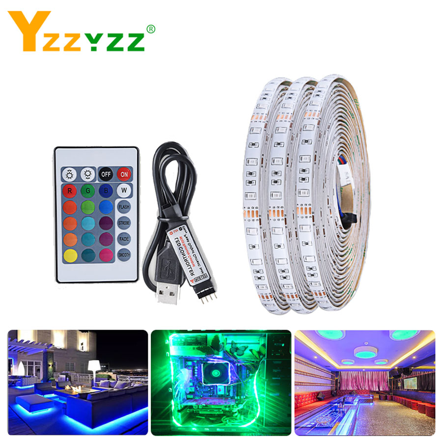 5V USB LED TV Light 2835 SMD RGB Tape LED Strip Lights For TV Backlight HDTV Neon Lamp 1M 2M 3M 4M 5M With 24 Key Remote Control