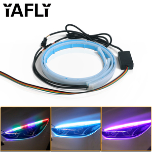 2x Ultrafine RGB 30 45 60cm Daytime Running Light Flexible Soft Tube Guide Car LED Strip White Red Turn signal Yellow Waterproof