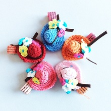 1 Pcs/lot New Fashion Childrens Cute Headwear Knitting Hat Hair Clips Cap Hairpins Girls Flower Accessories