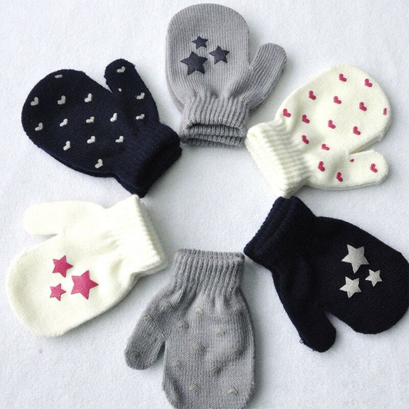 Winter Cute Baby Knit Warm Soft Gloves Kids Boys Girls Candy Color Star Mittens