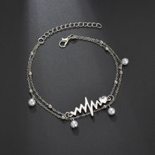Hello Miss Fashion jewelry popular double pearl chain anklet two sets of ECG anklet women's anklet holiday gifts недорого