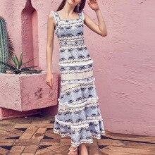 Summer Dress Women Trend Light Blue Color Tassel High Waist Elegant Long Sling Female