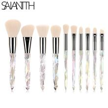 Saiantth 10pcs transparent crystal diamond makeup brushes set colorful diamond b
