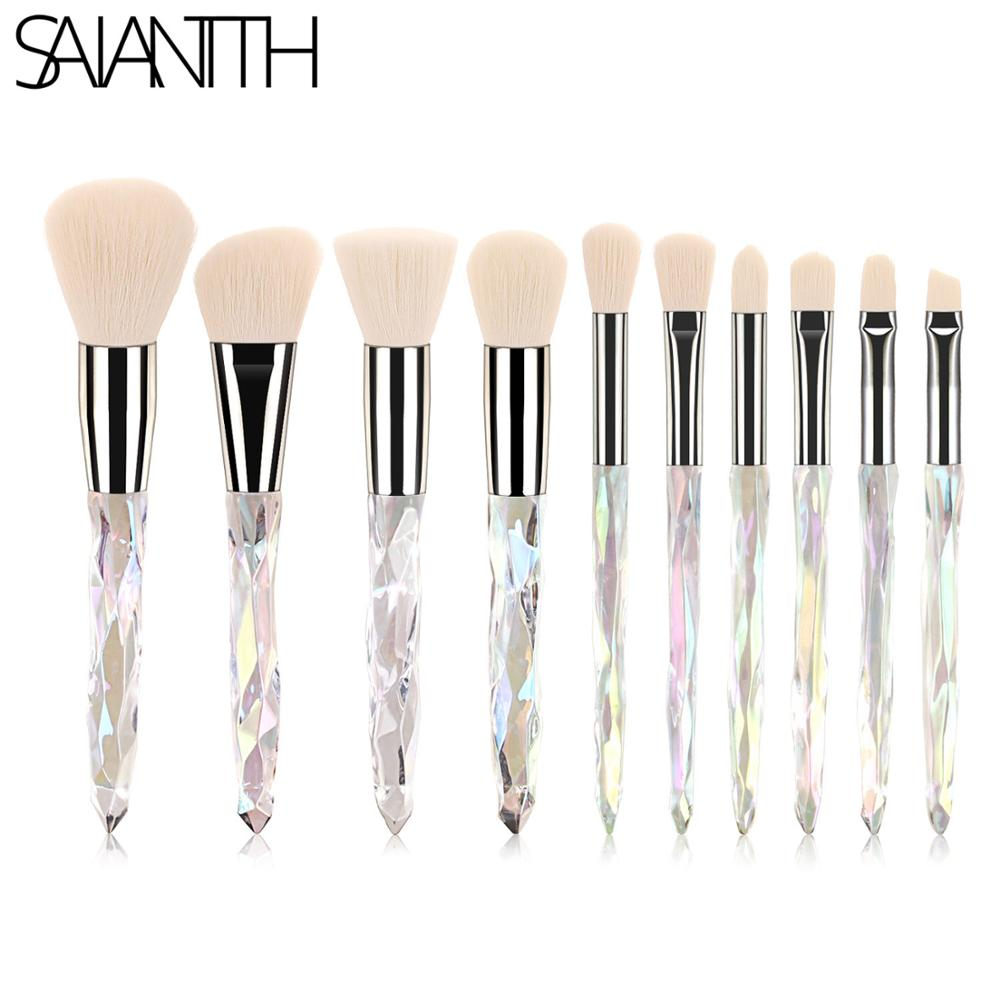 Saiantth 10pcs transparent crystal diamond makeup brushes set colorful diamond blush foundation eyeshadow brush beauty tool kit