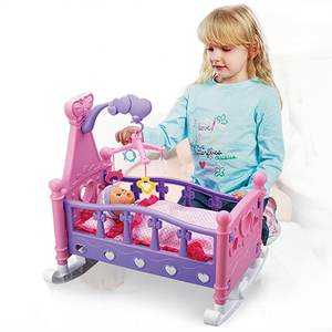 Toys Blanket Pillow Doll Play-House Baby Simulation Rocking-Cradle Children's with Shaker-Sets