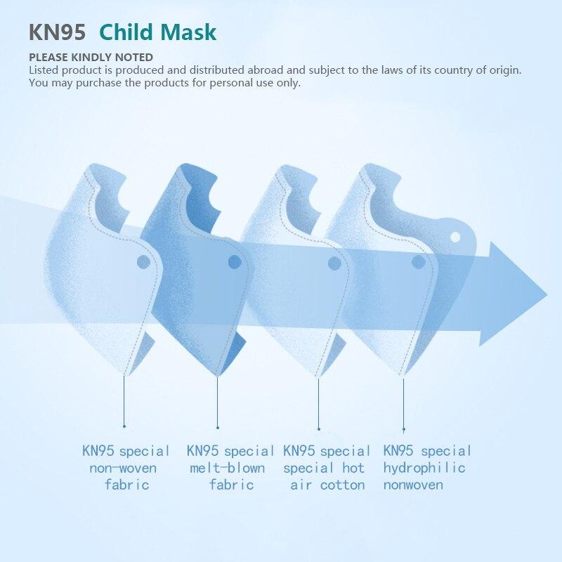 5 couches KN95 masque pour 3-15 vieux enfants enfant poussière KN95 filtre FFP2 masque protecteur garçons filles CE respirateur ffp2masque 2