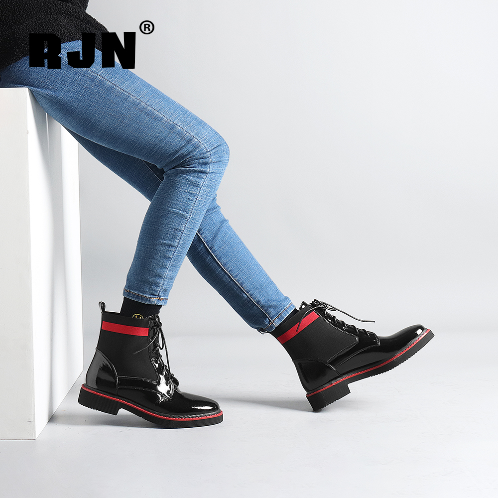 Hot Sale RJN Genuine Leather Women Ankle Boots Shoelace Decoration Comfortable Round Toe Low Red Heel Slip-On Shoes Lady Winter Boots R27