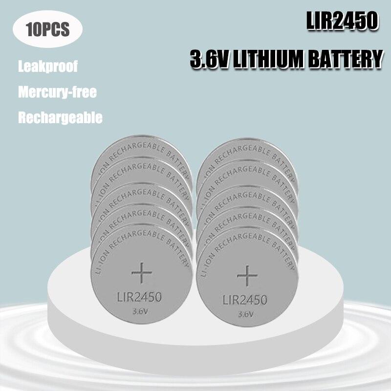 10 шт. 3,6 V LIR2450 2450 Перезаряжаемые Кнопка Батарея заменяет CR2450