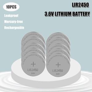 10PCS 3.6V LIR2450 2450 Rechargeable Button Battery Button Battery Replaces CR2450