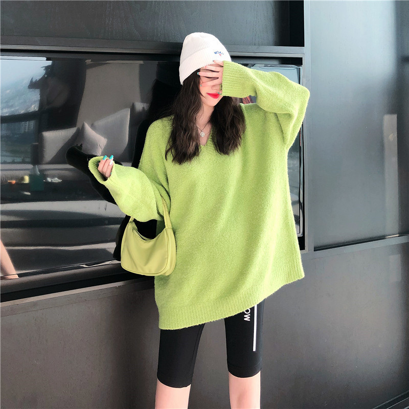 Focal20 Streetwear Solid Women Sweater Jumper Loose V Neck Female Pullovers Tops Casual Spring Autumn Lady Sweaters Jumpers