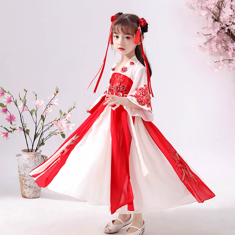 Chinese Clothing Girls Long Chinese-style Children Chest-high Dress Fairy Immortal Red Ancient Costume Chiffon Dress Autumn