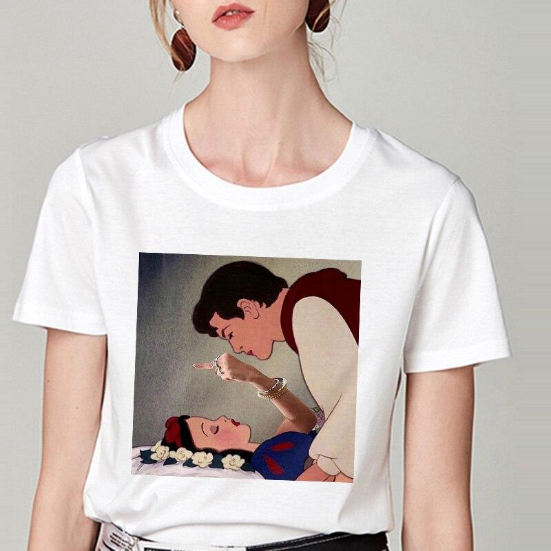 Summer Tshirt Snow White Fun Fashion Printed T-shirt Spoof Personality Harajuku Funny Casual Thin Section T Shirt Women Clothing 17
