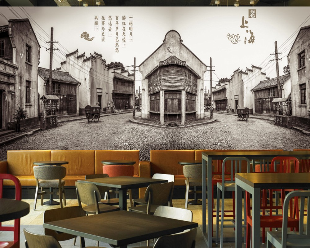 Dropship Retro Vintage Old Shanghai Street View Wallpaper Old Architecture Mural Custom 3D Chinese Style Building Wallpaper