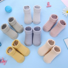 Baby Socks Anti Slip Floor Solid Color Kids Toddlers Autumn Spring Soft Cotton Newborn Cute 0-36month Baby Clothes Accessories недорого