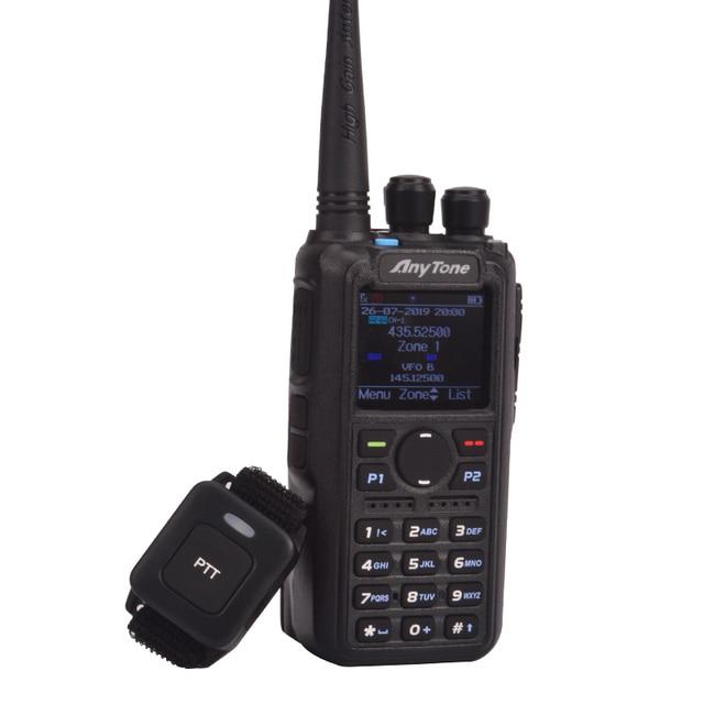 햄 라디오 Anytone AT D878UV 플러스 디지털 DMR 및 아날로그 UHF/VHF 듀얼 밴드 블루투스 PTT 워키 토키 GPS PC 케이블로 APRS 라디오