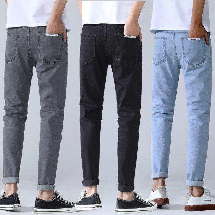 2019 New Style Light Blue Jeans Men's Slim Fit Pants Korean-style Trend Men Elasticity Jeans