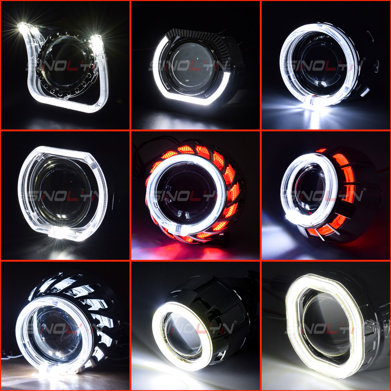 Sinolyn Projector LED Angel Eyes Shrouds With DRL Mask Headlight Lenses Bezel For 2.5'' H1 WST Bi-Xenon Headlight Lens Accessory