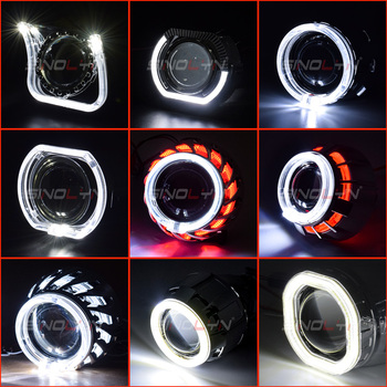 Sinolyn projektor LED Angel Eyes całuny LED DRL Bezel soczewki reflektorów es Bezel dla 2 5 #8221 H1 WST bi-ksenonowe soczewki reflektorów akcesoria tanie i dobre opinie Osłony przeciwpyłowej CN (pochodzenie) High Temperature Resistant Material For 2 5 H1 WST Projectors With Dimming Function