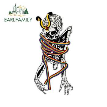 EARLFAMILY 13cm x 6.1cm Car Sticker Psychedelic Ancient Acid Trippy Wavey Rainbow Skeleton Corpse Goth Vinyl Car Styling image