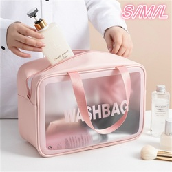 S/M/L 3 Sizes Ladies Large Capacity Pu Frosted Waterproof Cosmetic Bag Convenient Travel Makeup Storage Bag Female Wash Bag