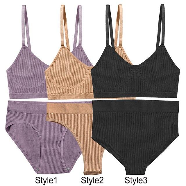 2PCS Bra Set Women Sexy Female Underwear Lingerie Ribbed Tops Girls Tank Crop Top 2