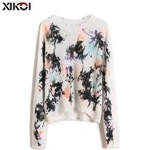Женский свитер с круглым вырезом xikoi осенне зимняя теплая