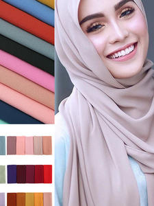 Bubble Chiffon Headband Scarf Shawls Wrap Hijab Printe Plain 47-Colors Women Solid
