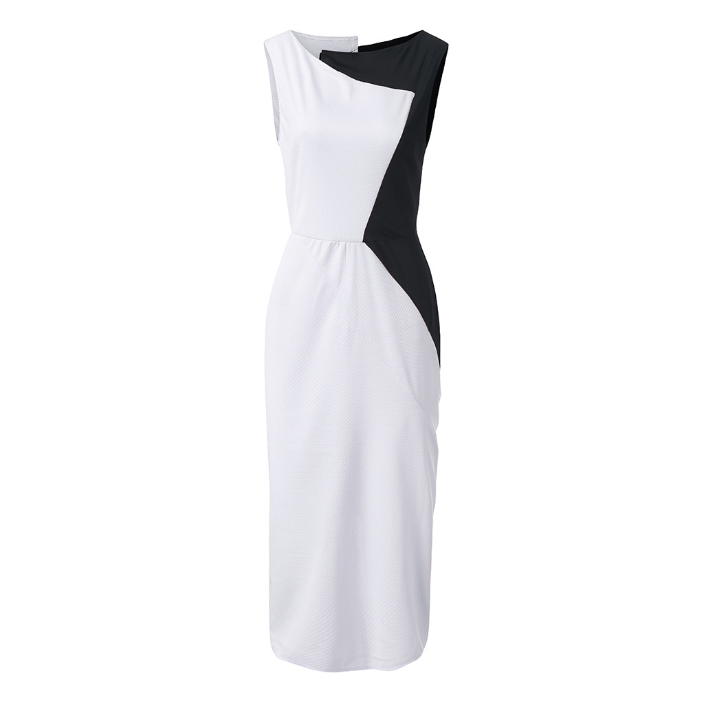 2020 Womens OL Dress Elegant Bodycon Color Block Patchwork Sleeveless Party Mid-calf Sheath Irregular Dresses Plus Size Vestido
