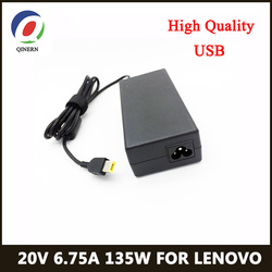 Зарядное устройство для ноутбука lenovo, 20 в, 6,75 А, 135 Вт, USB, адаптер переменного тока для lenovo YOGA720-15, T540p, T440p, Y50-70, G5005, Y520, Y7000, Y700-14, зарядное устройс...