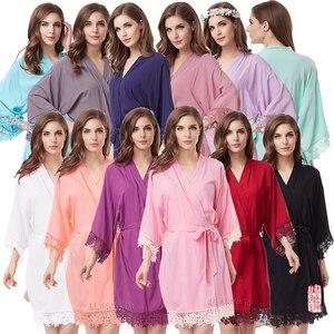 Image 1 - Cotton Robe  Lace Robe bride robe Kimono Bridesmaid Robes Bridal Party Robe  women pajamas sleepwear A300A