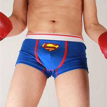 For Superman Cartoon Diamond Print Boxers Low Waist Underwear Europe US Cute Men