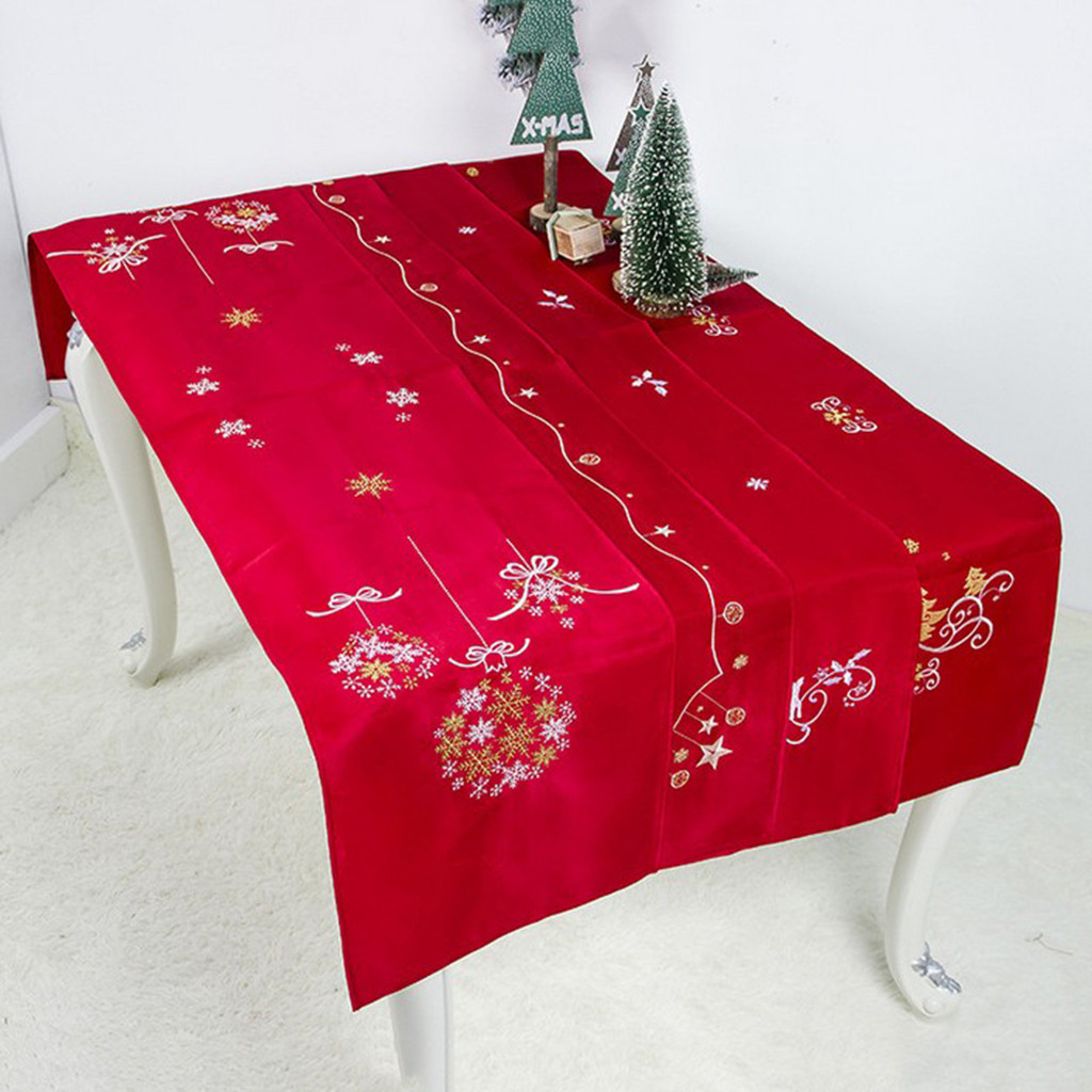 40x180cm Christmas Table Runner Mat Tablecloth Christmas Flag Home Party Decor Red Table Runners Christmas TableCloth Party Home