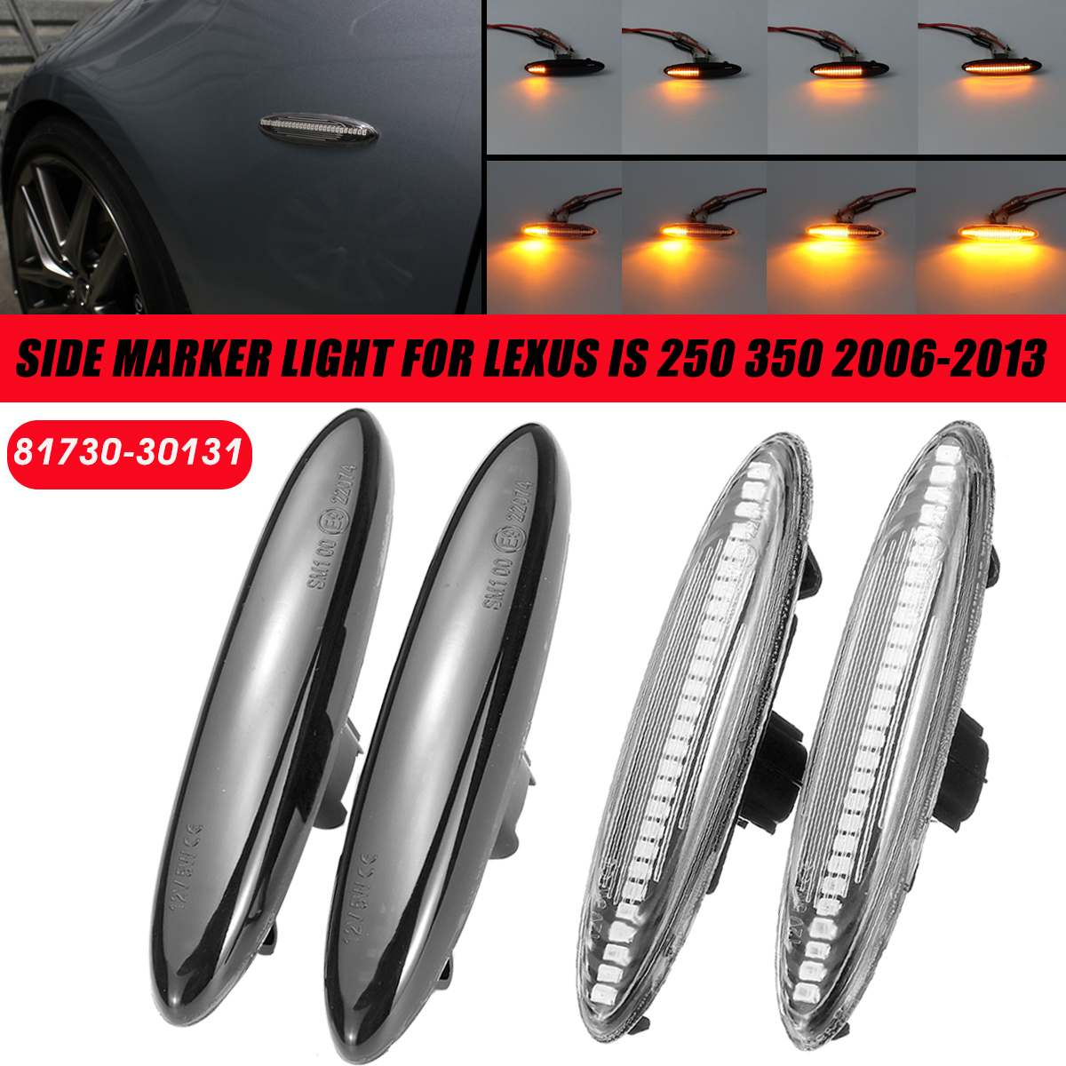 Pair LED Side Marker Lights Flowing Water Turn Signal Indicator Lamps Blinker For Lexus IS250 IS350 SC430 For Highlander Soarer