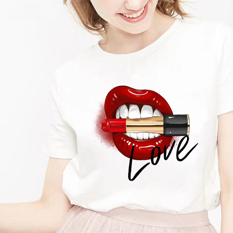 Camiseta Tacones T-shirt Harajuku Short-sleeved Tshirt Lip Lipstick High Heels Women's Cartoon Summer T Shirt Shirt Feminina