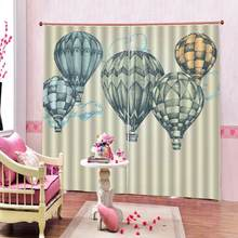 Geometric Pattern Hot Air Balloon Window Curtains in Journey Fun Adventure Hobby Theme Living Room Bedroom Drapes Decor(China)