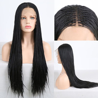 RONGDUOYI Black 500pieces Braided Box Braids Lace Wigs for Women Middle Part Heat Resistant Fiber Hair Synthetic Lace Front Wig