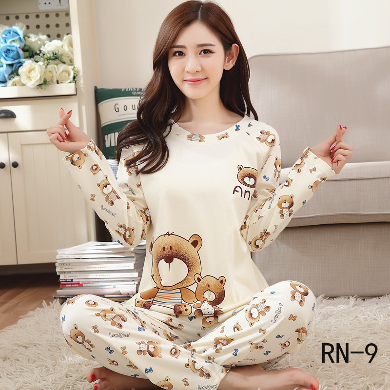 New Children's Pajamas Sets RN-9 Autumn Winter Long Sleeve Thin Cartoon Print Cute Sleepwear Big Girls Pijamas Mujer Leisure