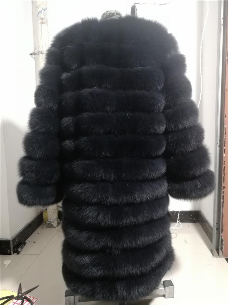 100% Natural Real Fox Fur Coat Women Winter Genuine Vest Waistcoat Thick Warm Long Jacket With Sleeve Outwear Overcoat plus size 89