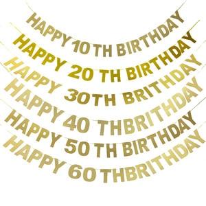 Happy Birthday Banner 40th Birthday Decorations Glitter Gold Letter Banner 10 20 30 40 50 60 70 80 90 Years Birthday Party Decor