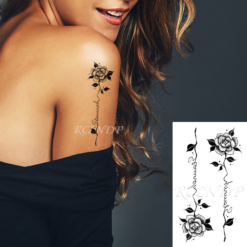 Waterproof Temporary Tattoo Sticker Rose Flower Leaf Letter Black Small Body Art Flash Tatoo Fake Tatto For Kids Girl Men Women