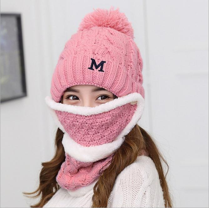 Hat Earmuff Korean-Style-Wool Female Winter And Autumn 3pcs-Set Knitted-Hat Dong Days