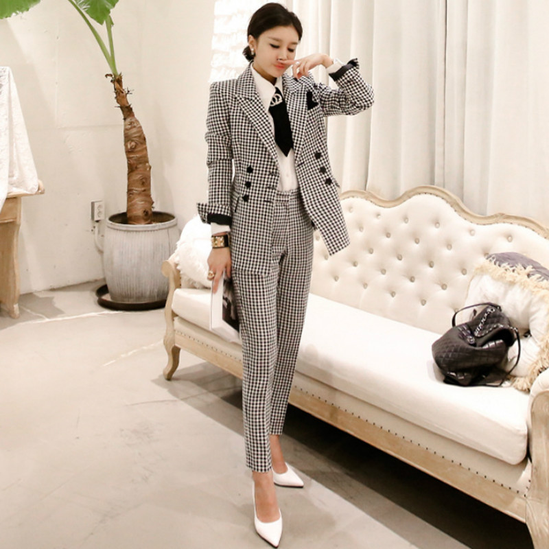 Professional Women's Suits 2019 New Autumn And Winter Slim Plaid Ladies Long Jacket Casual Office Trouser Suit Two-piece Set