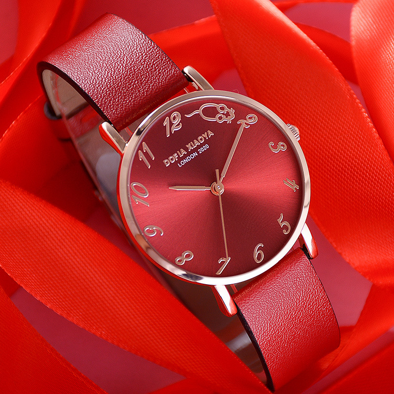 Luxury Watch Women 2020 New Fashion Red Leather Strap Wrist Watch Ladies Dress Quartz Clock Waterproof Arabic Relogio Feminino